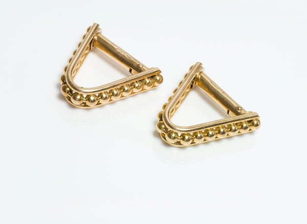 Gold Beaded Stirrup Cufflinks