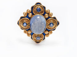 Antique Gold Carved Sapphire Intaglio Enamel Pendant Brooch