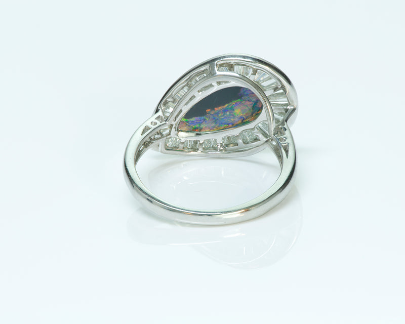 Black Opal Platinum Baguette Diamond Ring