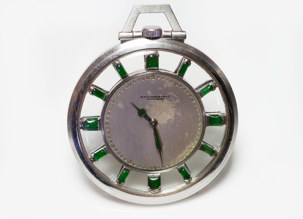 Black Starr & Frost Gorham Antique Platinum Jade Pocket Watch