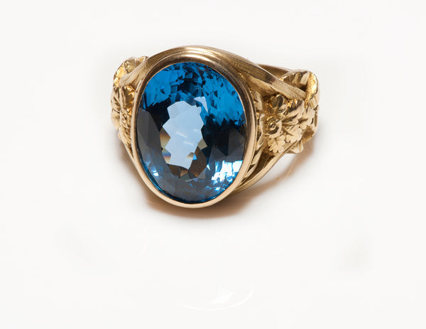 Antique Art Nouveau Blue Topaz 18K Gold Men's Ring