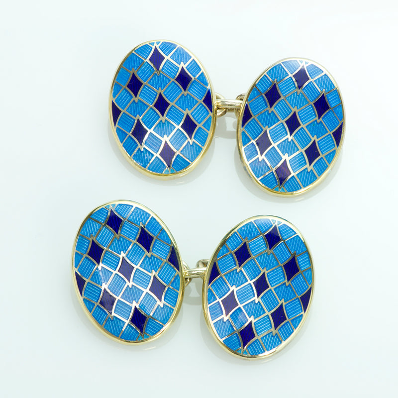 Deakin and Francis Gilt Silver and Enamel Cufflinks