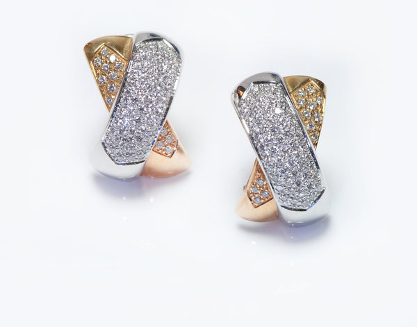 Bucherer 18K Gold Diamond X Earrings