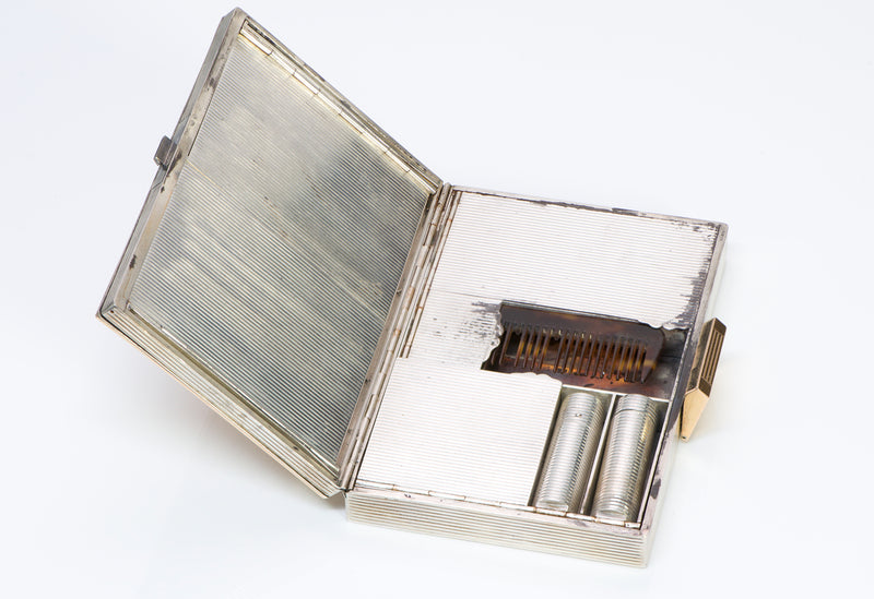 Vintage Boucheron Ruby Gold Sterling Silver Minaudiere Clutch.