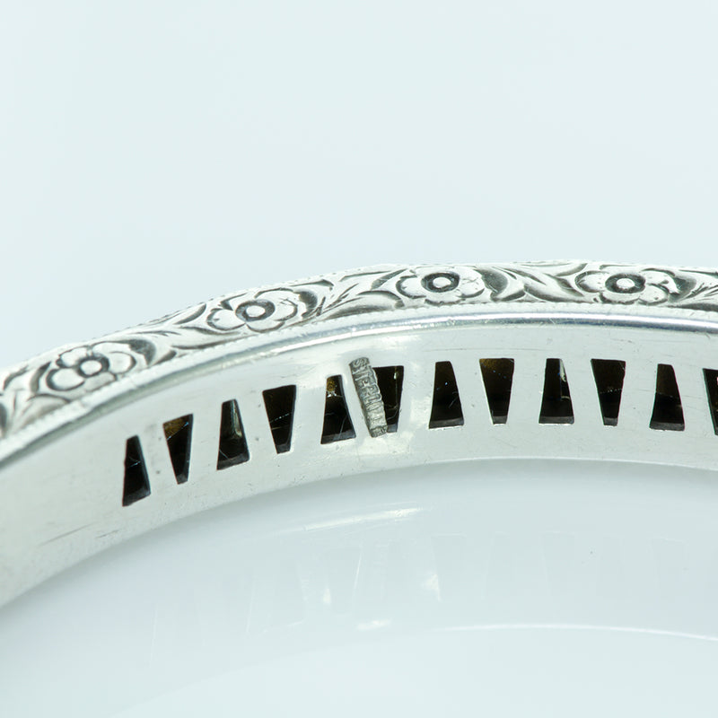 Art Deco Sterling Silver and Paste Bangle Bracelet