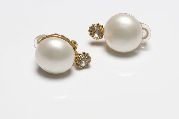 CHANEL Paris 1980's Pearl Crystal Earrings