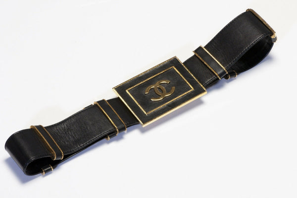 CHANEL Paris 1990's Wide Black Leather CC Belt