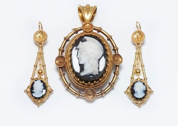 Antique Gold Cameo Earrings & Pendant