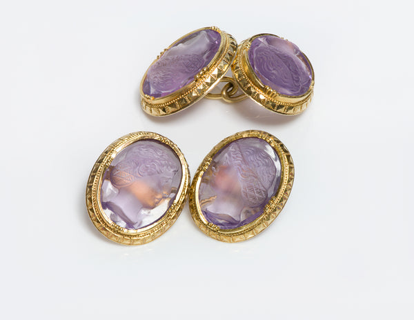 Antique Y Gold Amethyst Cameo Cufflinks