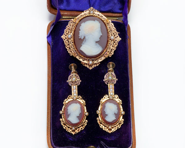 Antique Earrings Gold Cameo Brooch Pearl