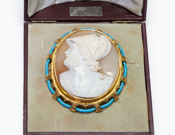 Antique Gold Enamel Large Stone Cameo Brooch