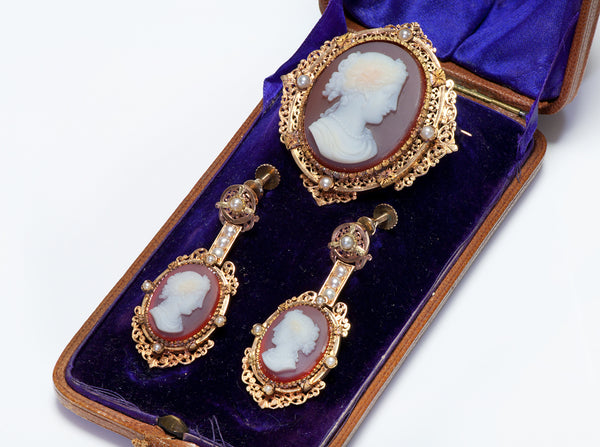 Antique Gold Cameo Earrings & Brooch