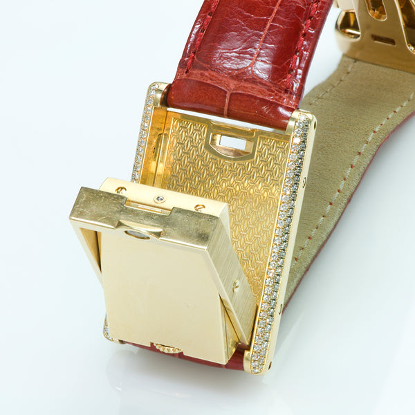 Cartier Tank Basculante 18K Gold and Diamond Watch 2506