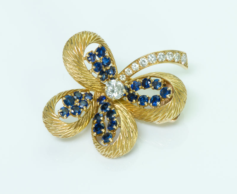 Cartier Paris 18K Gold Clover Diamond Sapphire Pin/Brooch