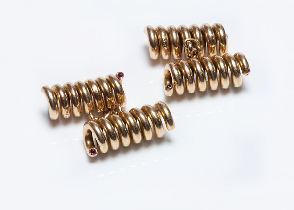 Cartier 18K Gold Coil Ruby Cufflinks