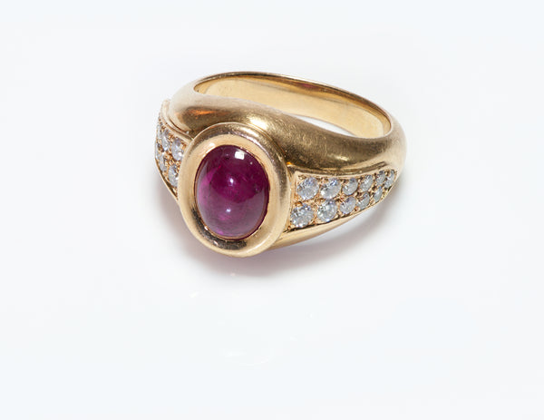 Cartier 18K Gold Ruby & Diamond Ring