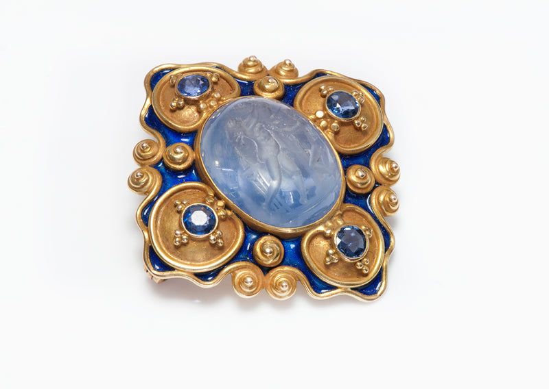 Antique Gold Carved Sapphire Intaglio Pendant Brooch