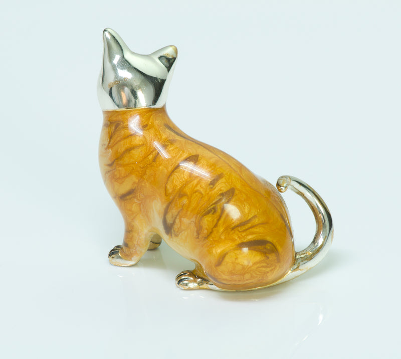 Sterling Silver Enamel Cat