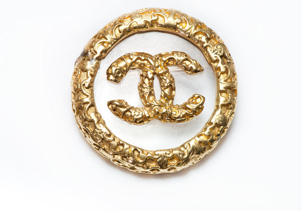 CHANEL Paris Fall 1993 CC Clear Glass Logo Brooch