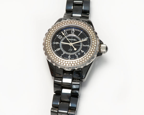 Chanel J12 Diamond Bezel Black Ceramic Watch