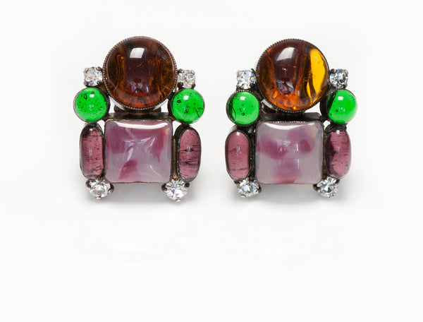Chanel Gripoix Glass Crystal Earrings