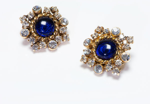 CHANEL Vintage Gripoix Glass Crystal Snowflake Earrings