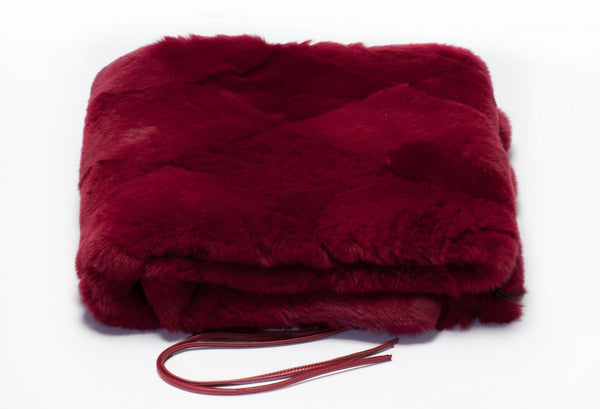 CHANEL Paris Red Orylag Rabbit Fur Women's Stole Scarf