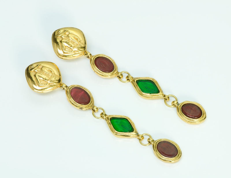 Chanel Gold Tone Gripoix Vintage Earrings