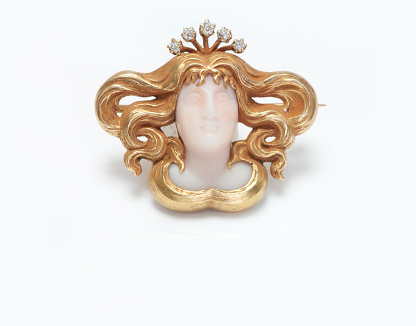 Antique Art Nouveau Gold Diamond Coral Lady Brooch