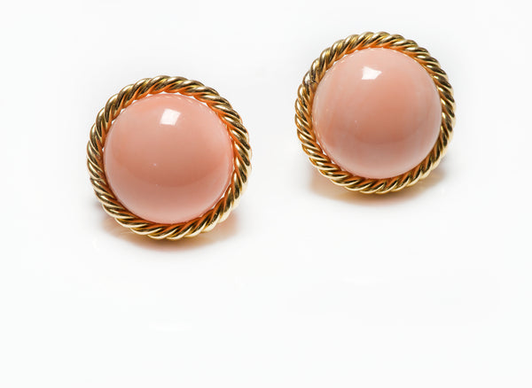Gold Angel Skin Coral Button Earrings