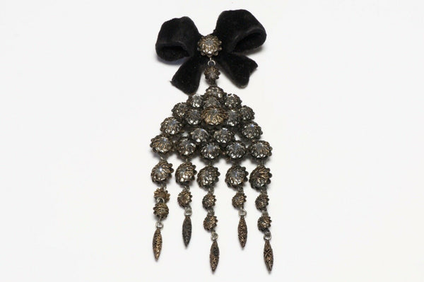 Christian Dior Francis Winter 1950's Black Velvet Bow Crystal Brooch