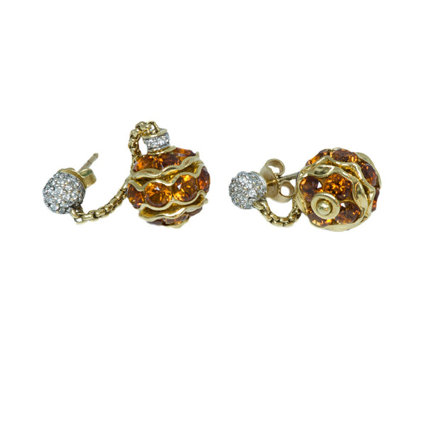 David Yurman Gold Citrine and Diamond Earrings