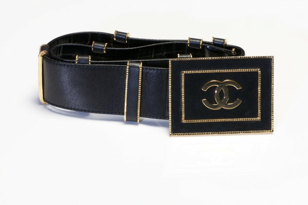 CHANEL Paris 1990's Wide Black Leather CC Waist Belt