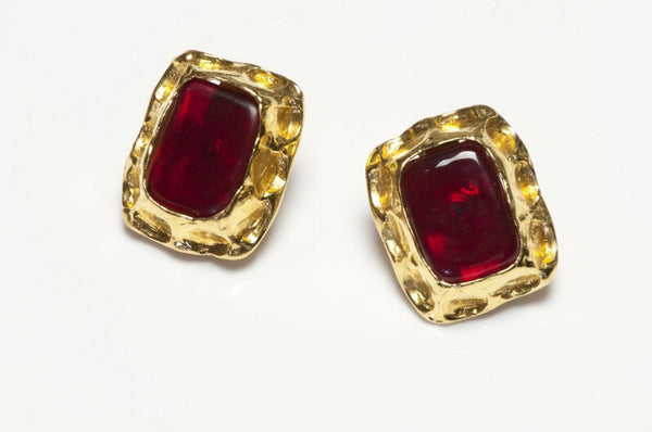 CHANEL Paris 1990's Maison Gripoix Red Glass Earrings
