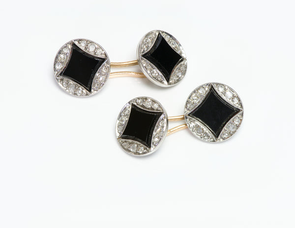 Art Deco French Platinum Fancy Cut Onyx & Diamond Cufflinks