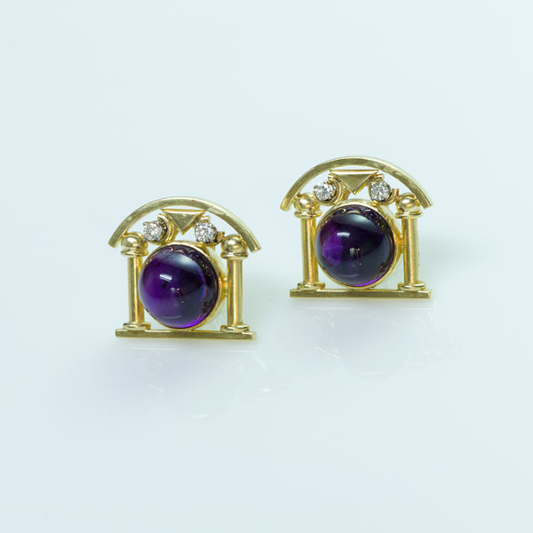 Gold Cabochon Amethyst Earrings
