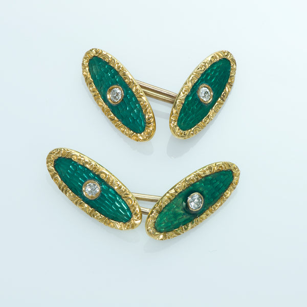 Gold Diamond Green Enamel Cufflinks
