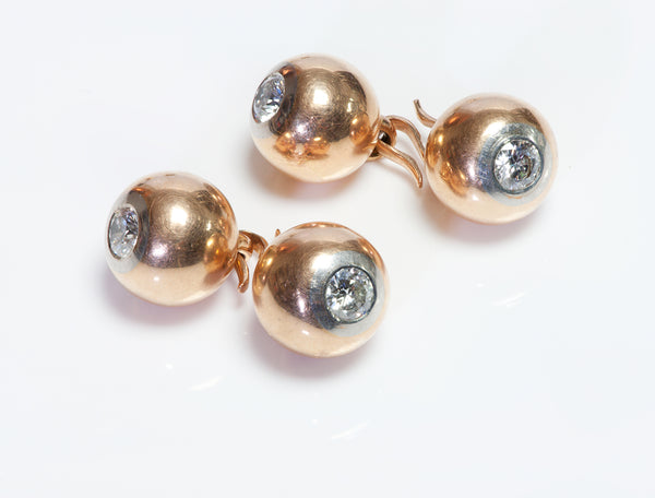 Antique Gold Platinum Diamond Ball Cufflinks