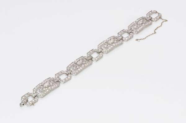 Art Deco Platinum Marquise Brilliant Cut Diamond Bracelet