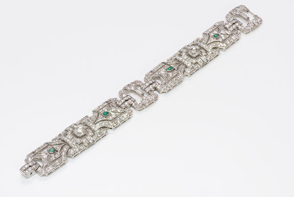 Art Deco Wide Platinum Brilliant Cut Baguette Diamond & Emerald Bracelet