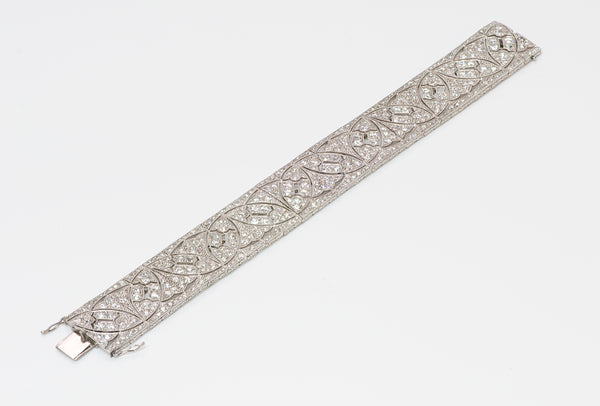 Art Deco Wide Platinum Diamond Bracelet