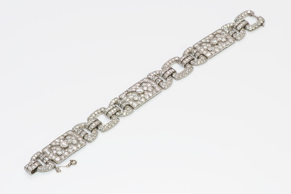 Art Deco Platinum French Brilliant Cut Diamond Bracelet