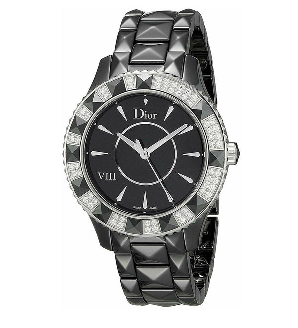 Christian Dior VIII Diamond Bezel Black Ceramic Women's Watch