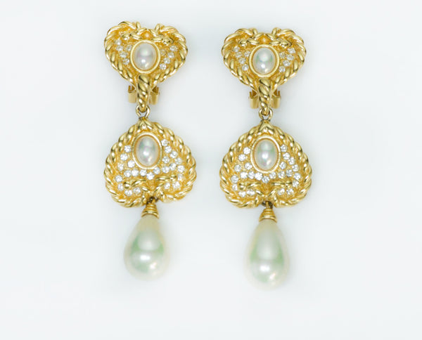 Christian Dior Heart Pearl Earrings
