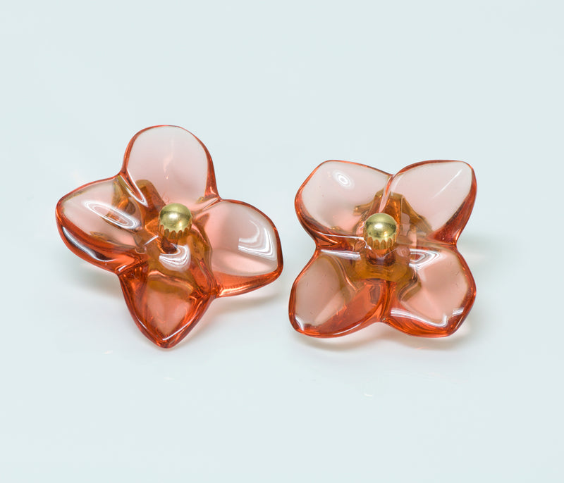 Baccarat Crystal 18K Gold Flower Earrings