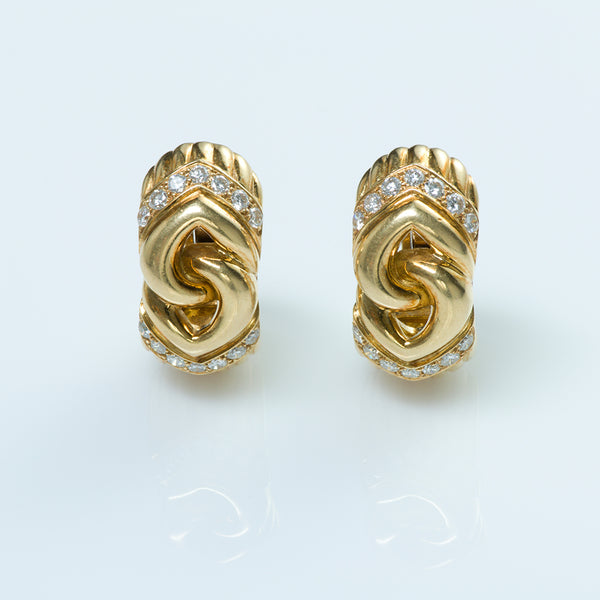 Bulgari Gold and Diamond Earrings
