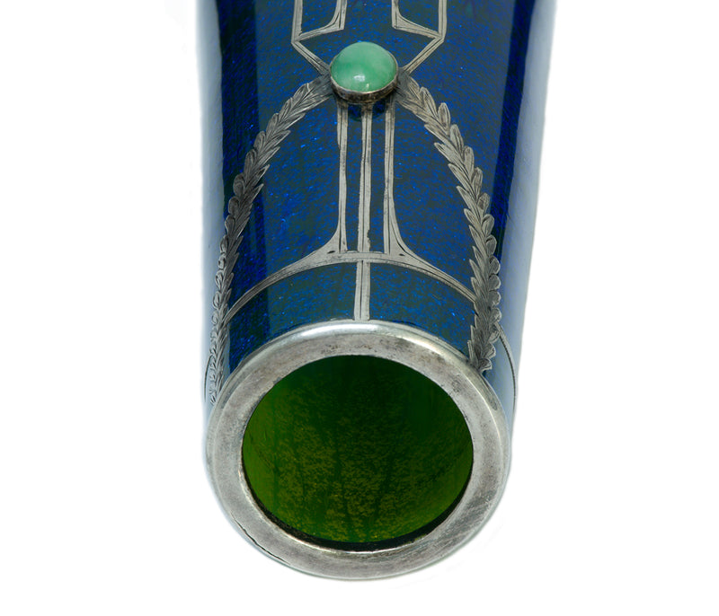 Art Deco Engraved Silver Overlay Jade Blue Glass Vase