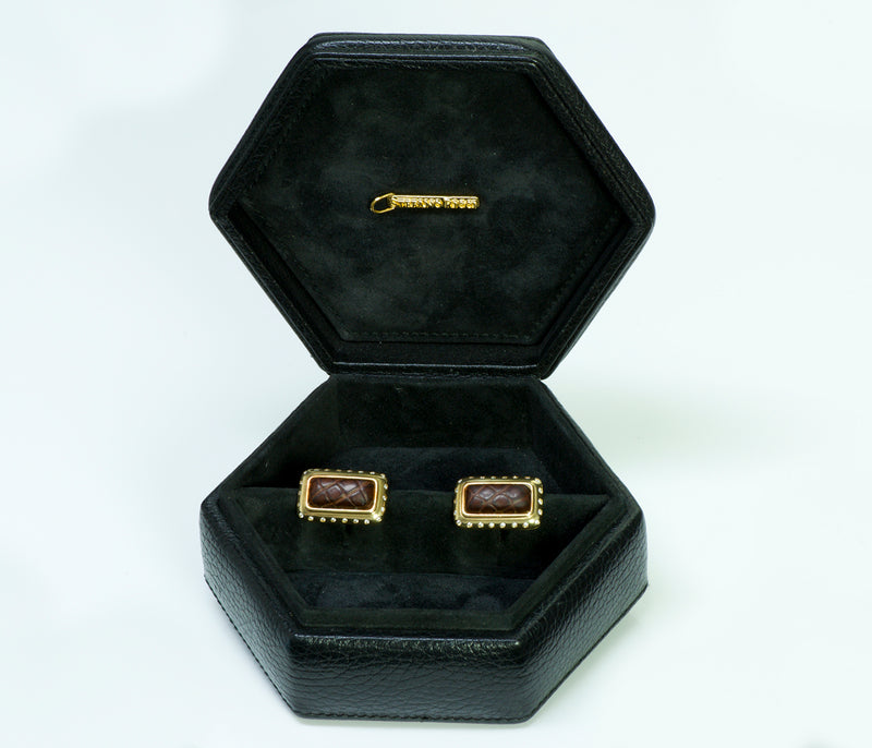 Stefano Ricci Gold Diamond Crocodile Cufflinks