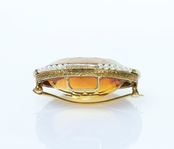 Citrine Gold Diamond Pearl Enamel Brooch