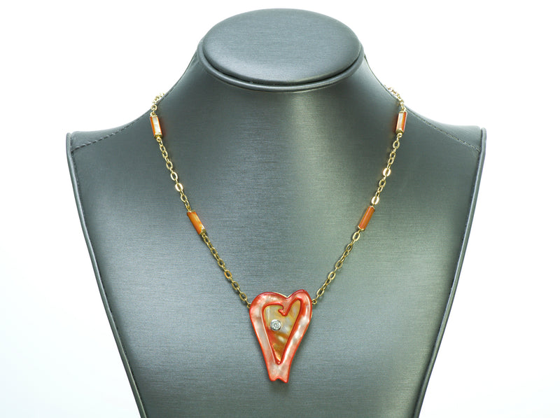 Roberto Coin Ariel's Heart of Hope Diamond 18K Gold Red Mother of Pearl Necklace